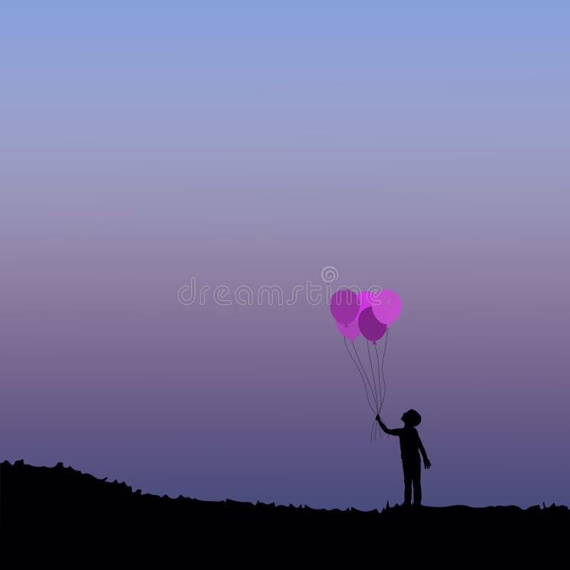 Schattenbild von Kindern mit Ballon stockbilder