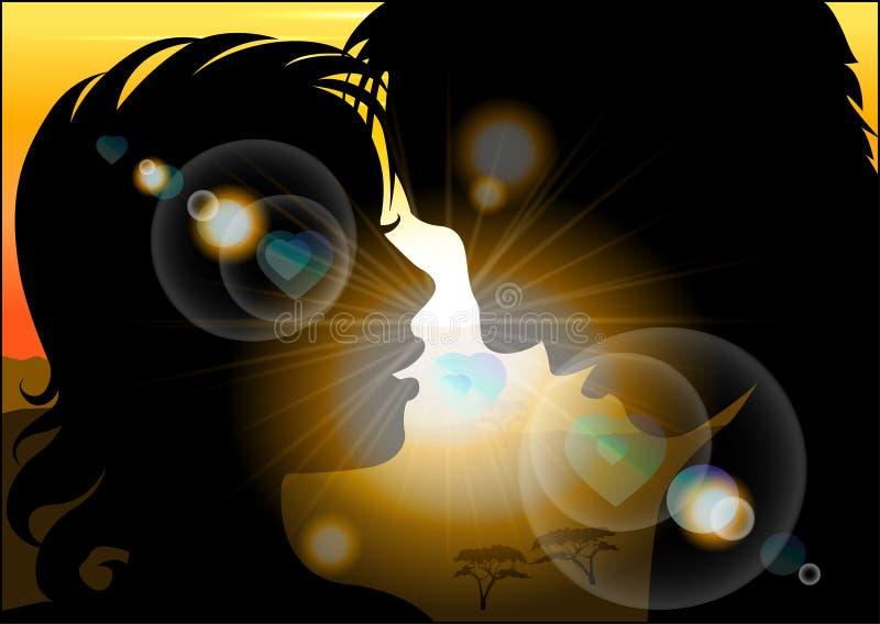 Schattenbild von Liebhabern auf einem Hintergrund der Sonne lizenzfreie abbildung
