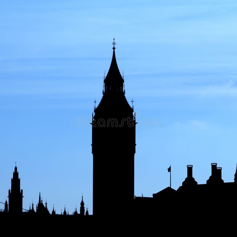 Schattenbild von London-Skylinen lizenzfreie stockfotos