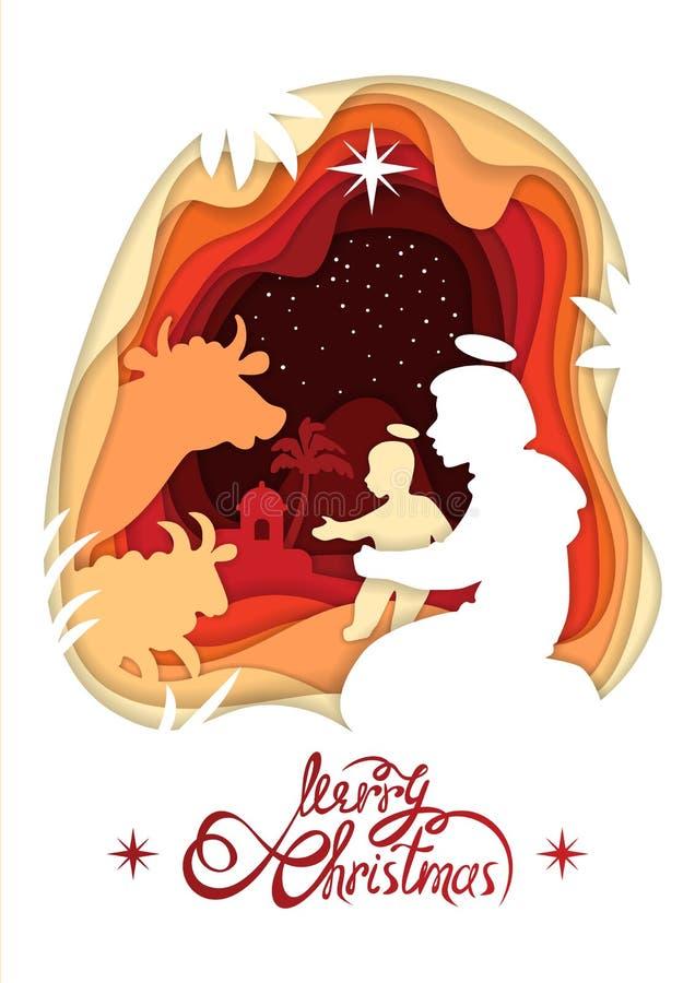 Schattenbild von Madonna Santa Maria und Baby Jesus Christ Lettering Merry Christmas lizenzfreie abbildung