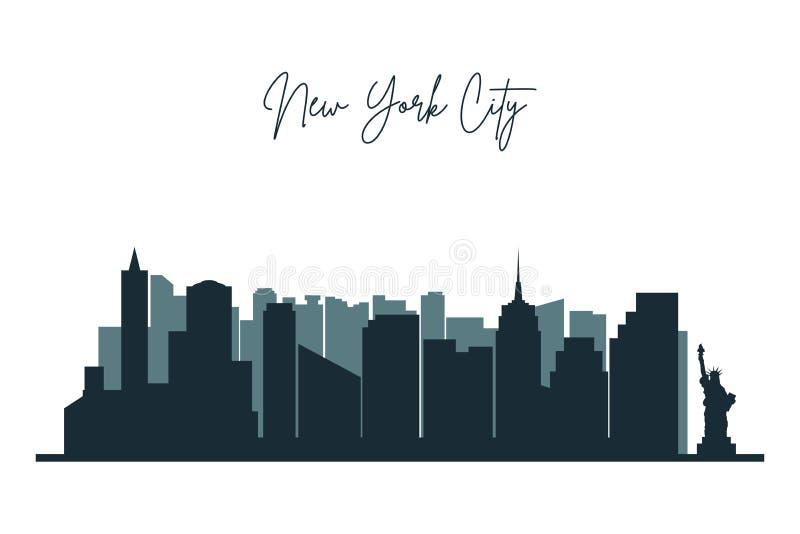 Schattenbild von New York City Städtische Skyline NYC mit Wolkenkratzern, Gebäuden und Freiheitsstatue stock abbildung