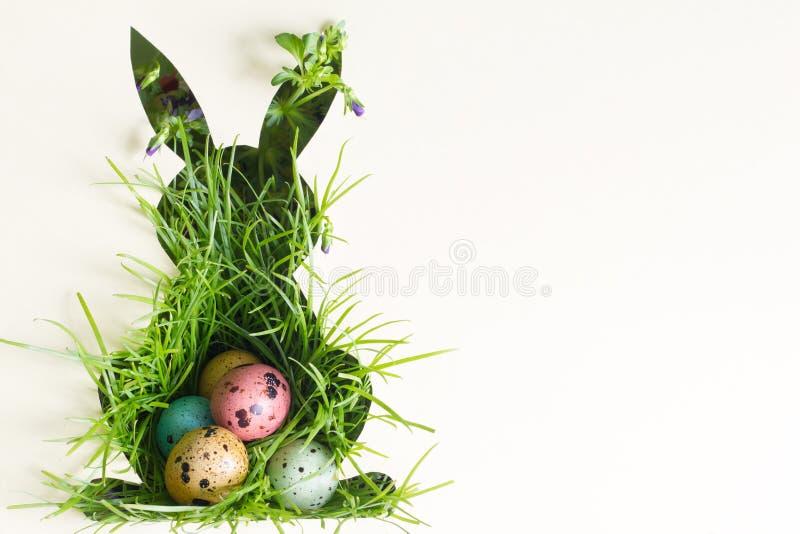 Schattenbild von Ostern-Kaninchen auf Papier mit grünem Gras und buntem Eizusammenfassungshintergrund lizenzfreies stockfoto