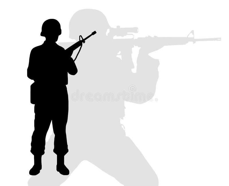 Schattenbild von Riflemen stock abbildung