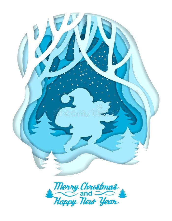 Schattenbild von Sankt auf Winterwaldhintergrund Beschriften von frohen Weihnachten und von guten Rutsch ins Neue Jahr Bunter Pap lizenzfreie abbildung