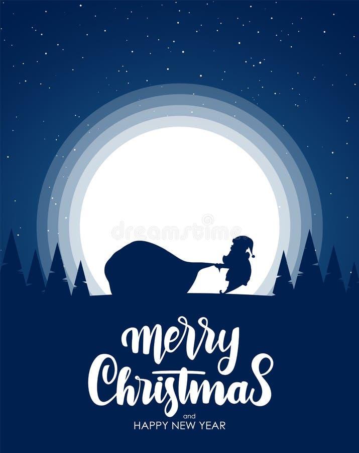 Schattenbild von Santa Claus zieht einen Sandsack voll Geschenke Karikaturszene Hand gezeichnete Beschriftung von frohen Weihnach vektor abbildung