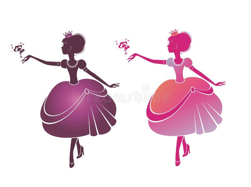 Schattenbild von schöne Prinzessinnen vektor abbildung