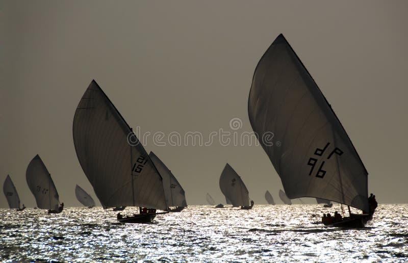Schattenbild von SegelnDhows stockfotos