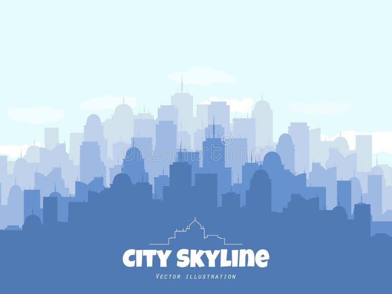 Schattenbild von Stadt-Skylinen Städtische Illustration des Vektors mit Gebäuden lizenzfreie abbildung