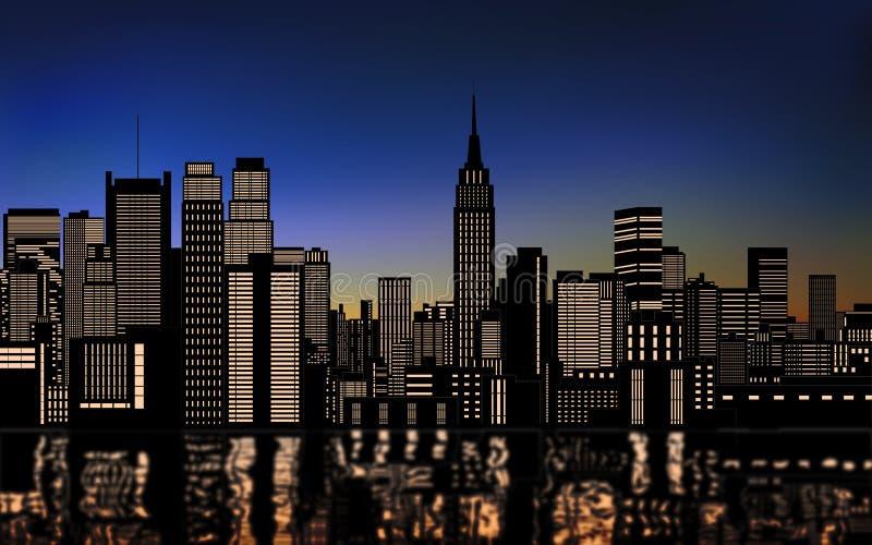 Schattenbild von Stadtbild New York City im Stadtzentrum gelegen mit Licht von den Fenstern und Wasserreflexion am Abendhimmel stock abbildung