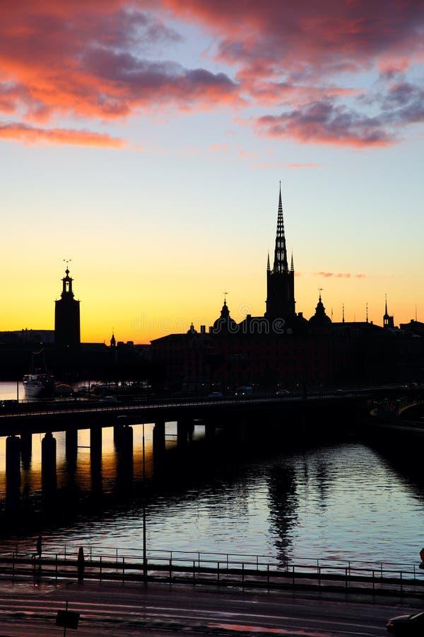 Schattenbild von Stockholm stockfotografie