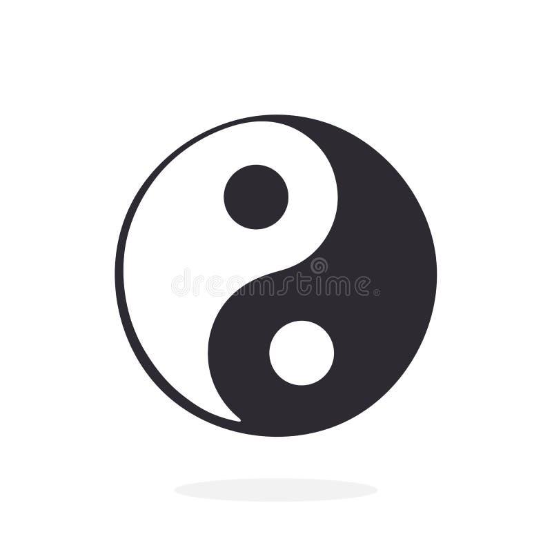 Schattenbild von Symbol Yin und Yangs der Harmonie und der Balance vektor abbildung