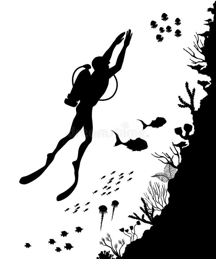Schattenbild von Taucher und Riff Unterwasser-wildlif lizenzfreie abbildung