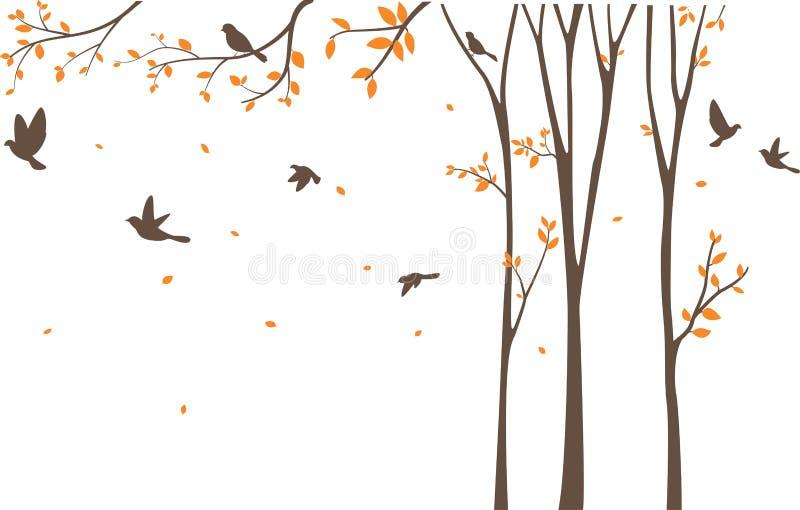 Schattenbild von Vögeln mit Baum und Birdcage lizenzfreie abbildung