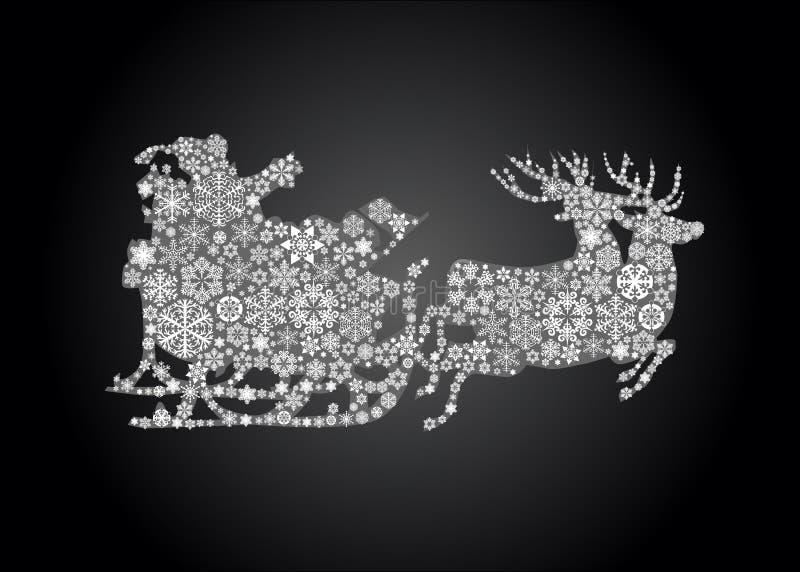 Schattenbild von Weihnachtsmann lizenzfreie abbildung