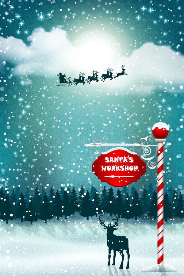 Schattenbild von Weihnachtsmann im Schlitten mit Renfliegen im nächtlichen Himmel lizenzfreie abbildung