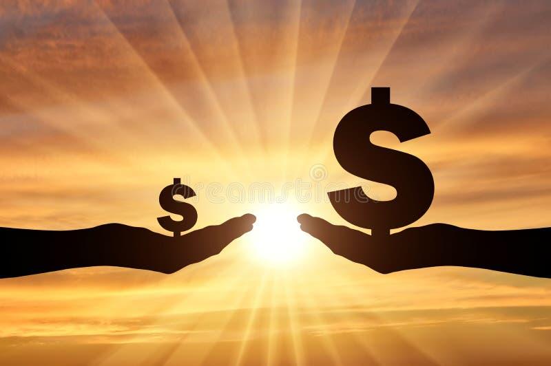 Schattenbild von zwei Händen, in einer Hand ein großes Symbol des Dollars In der zweiten Hand ist ein kleines Symbol des Dollars vektor abbildung