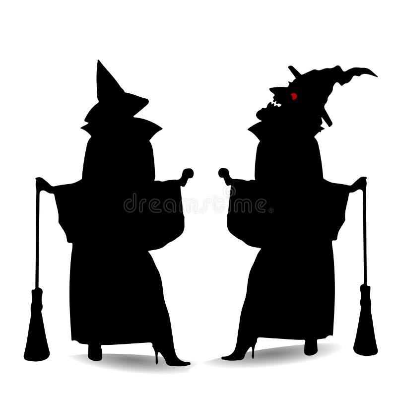 Schattenbild von zwei Hexen Halloween, auf einem weißen Hintergrund lizenzfreie abbildung