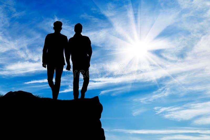 Schattenbild von zwei homosexuellen Männern stockbild