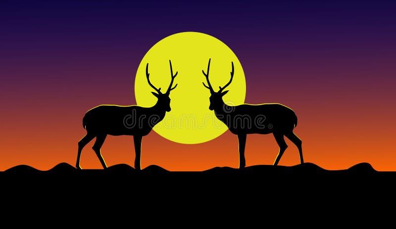Schattenbild von zwei Rotwild, die auf einem Berg mit einem gelben Mond im Hintergrund stehen stock abbildung