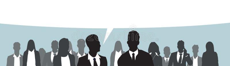 Schattenbild-Wirtschaftler-Gruppen-Geschäftsmann und Frau Team Chat Bubble lizenzfreie abbildung