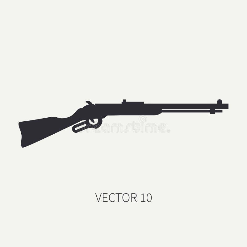 Schattenbild Zeichnen Sie Militärikonengewehr des flachen Vektors, Karabiner Armeeausrüstung und -bewaffnung Legendäre Retro- Waf vektor abbildung