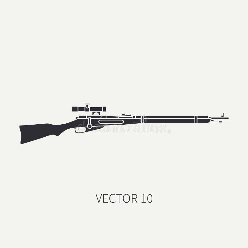 Schattenbild Zeichnen Sie Militärikonengewehr des flachen Vektors, Karabiner Armeeausrüstung und -bewaffnung Legendäre Retro- Waf lizenzfreie abbildung