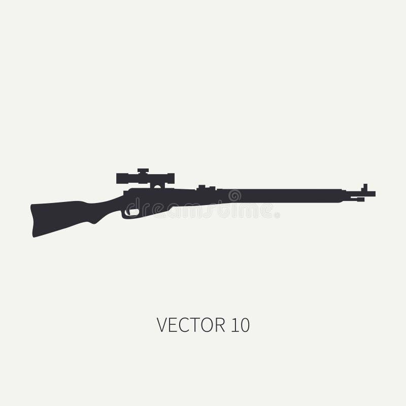 Schattenbild Zeichnen Sie Militärikonengewehr des flachen Vektors, Karabiner Armeeausrüstung und -bewaffnung Legendäre Retro- Waf stock abbildung