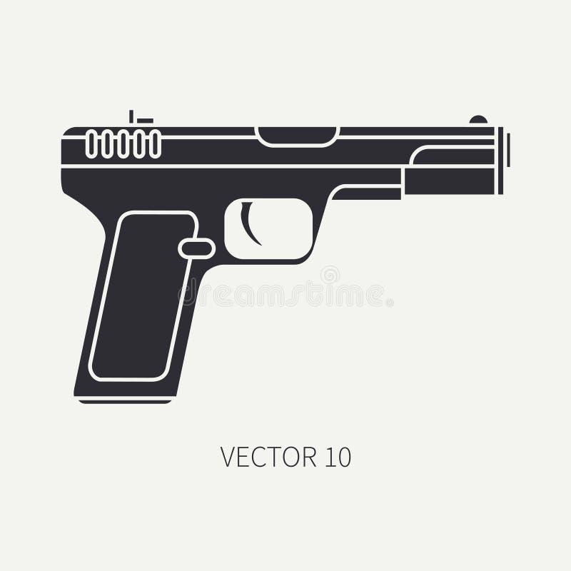 Schattenbild Zeichnen Sie Militärikonenpistole des flachen Vektors, Pistole Armeeausrüstung und -bewaffnung Legendäre Retro- Waff lizenzfreie abbildung