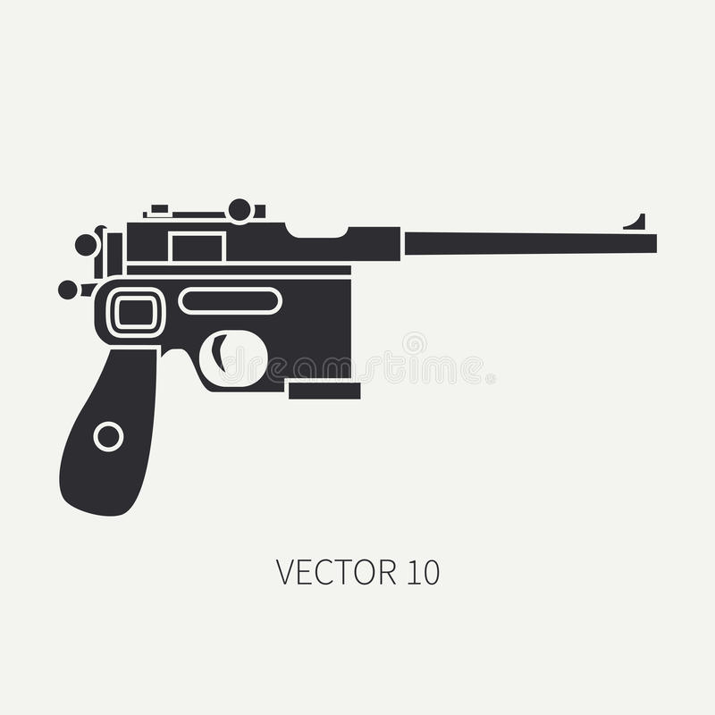 Schattenbild Zeichnen Sie Militärikonenpistole des flachen Vektors, Pistole Armeeausrüstung und -bewaffnung Legendäre Retro- Waff vektor abbildung