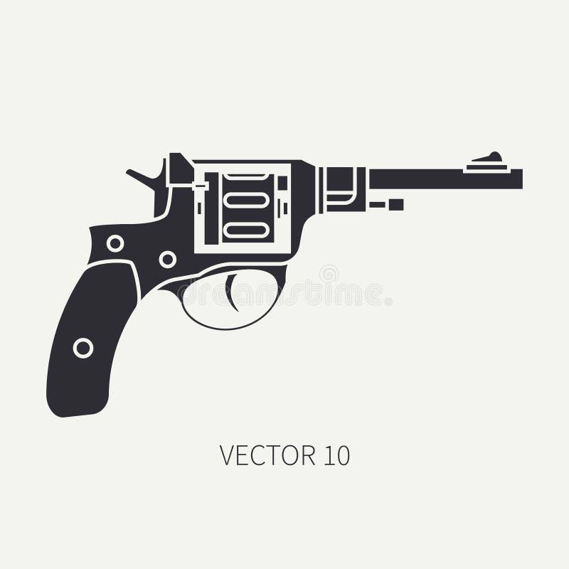 Schattenbild Zeichnen Sie Militärikonenrevolver des flachen Vektors, Pistole Armeeausrüstung und -bewaffnung Legendäre Retro- Waf vektor abbildung