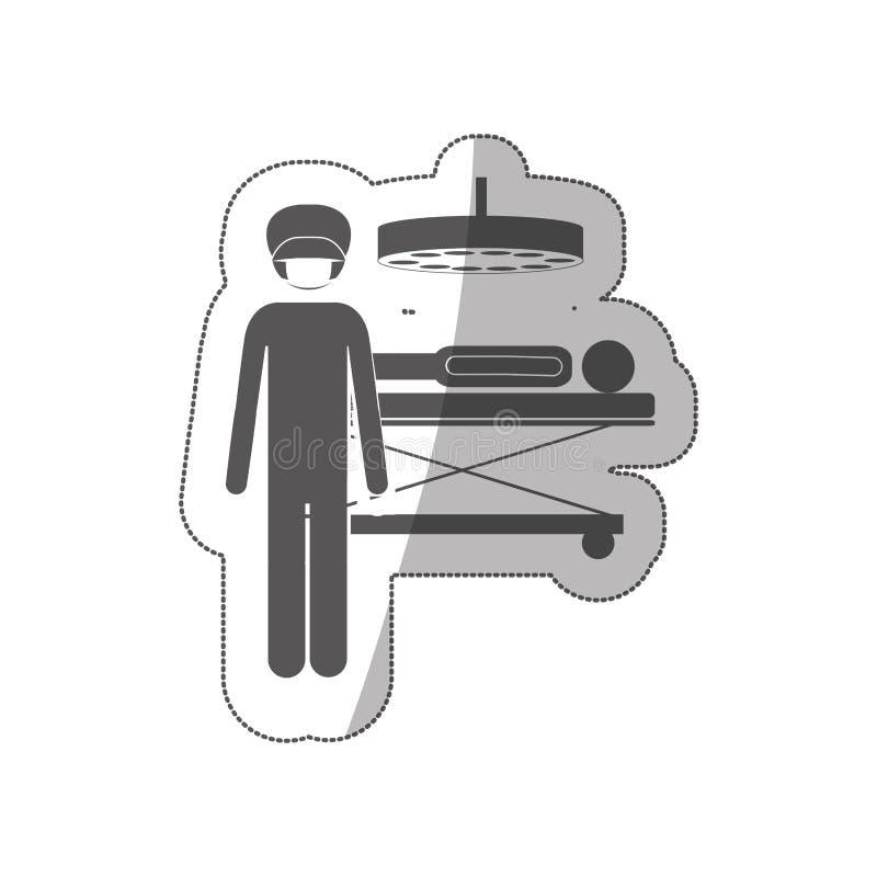 Schattenbildaufkleberchirurg im quirophan mit pacient vektor abbildung