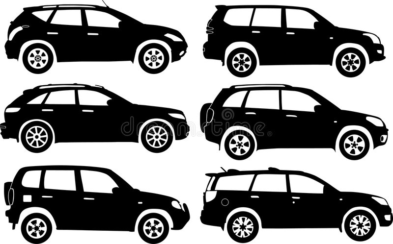 Schattenbildautos, Vektor stock abbildung