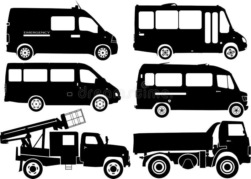 Schattenbildautos, Vektor lizenzfreie abbildung