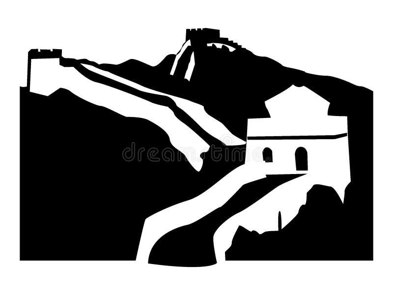 Schattenbildbild der Wand von China stock abbildung
