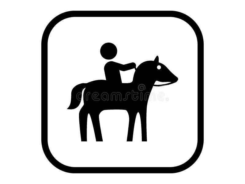 Schattenbildbild einer Pferdereiterikone lizenzfreie abbildung