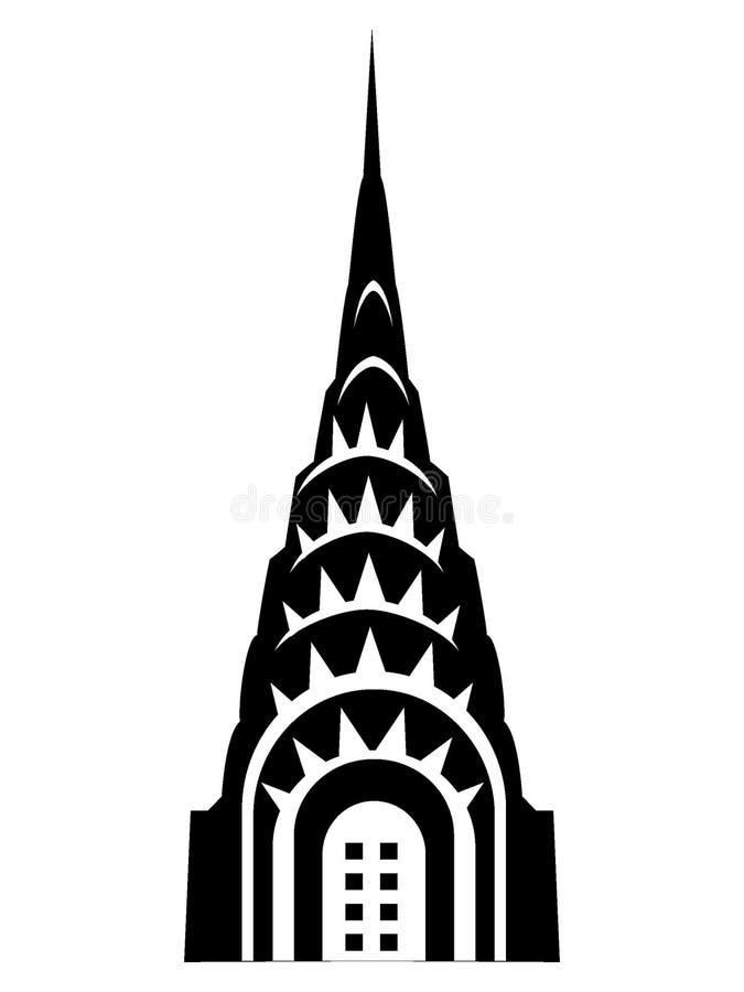 Schattenbildbild eines Chrysler-Gebäudes stock abbildung
