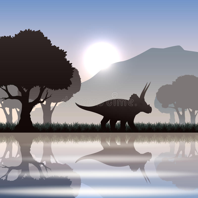 Schattenbilddinosaurier in der Landschaft stock abbildung
