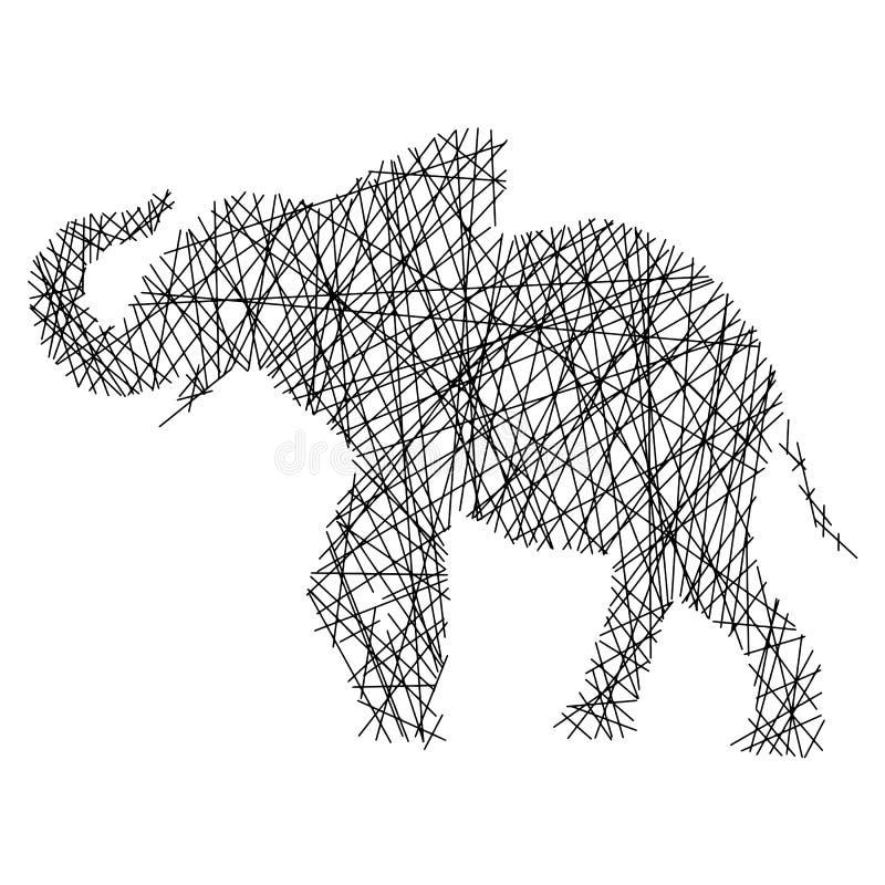 Schattenbildelefant mit der unordentlichen Geradevektorillustration lokalisiert auf weißem Hintergrund vektor abbildung