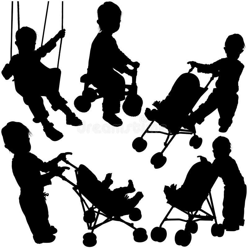 Schattenbilder 02 der Kinder stock abbildung