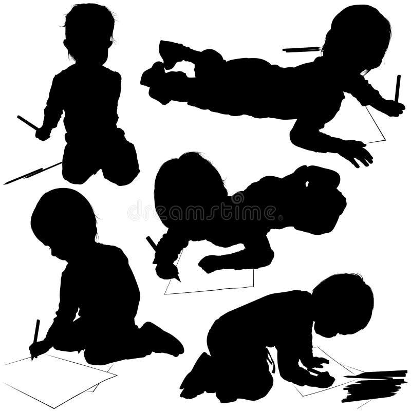 Schattenbilder 03 der Kinder vektor abbildung