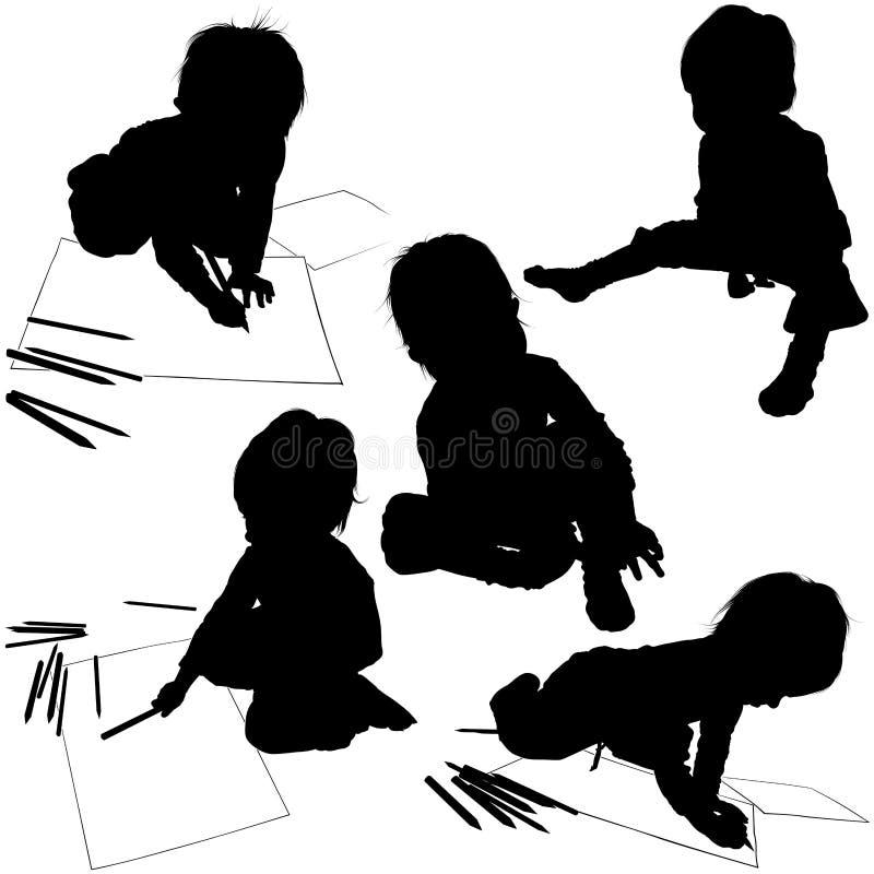 Schattenbilder 04 der Kinder lizenzfreie abbildung