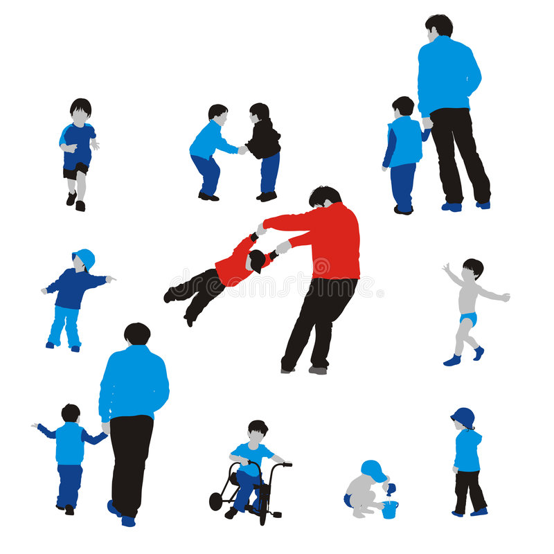 Schattenbilder der Familie und der Kinder lizenzfreie abbildung