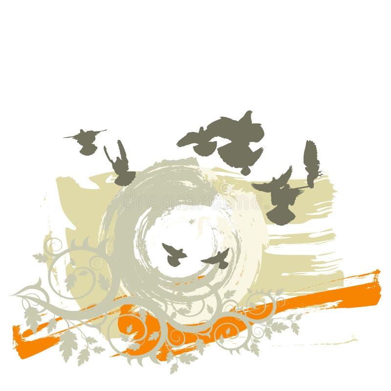 Schattenbilder der Flugwesentauben auf einem grunge Hintergrund vektor abbildung