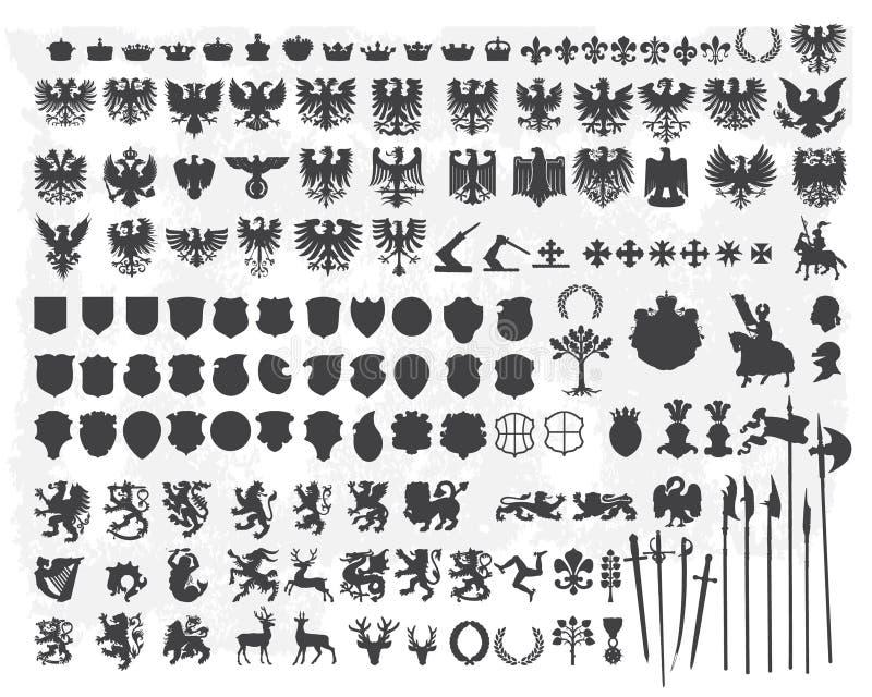 Schattenbilder der heraldischen Auslegungelemente stock abbildung