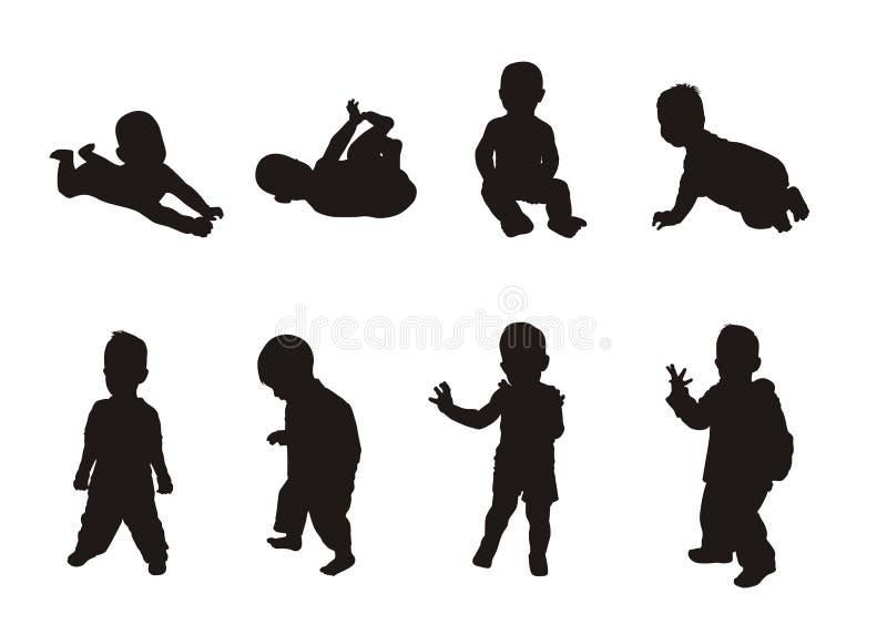 Schattenbilder der Kinder stockfotografie