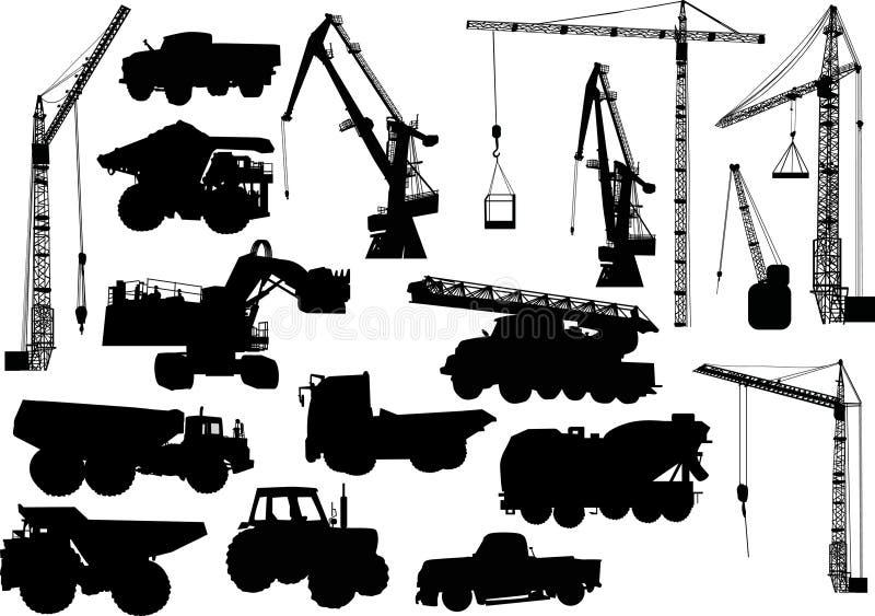 Schattenbilder der schweren Maschinerie und der Kräne vektor abbildung