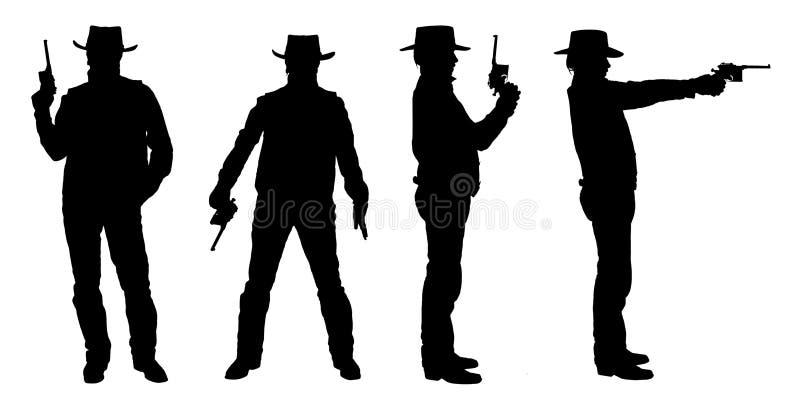 Schattenbilder des Cowboys mit einem Gewehr lizenzfreie stockfotografie