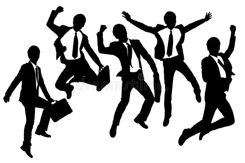 Schattenbilder des glücklichen Sprunges und der laufenden Geschäftsmänner vektor abbildung