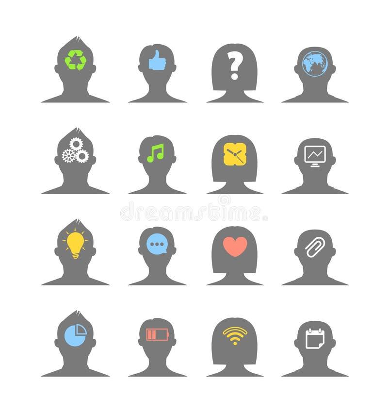Schattenbilder des menschlichen Kopfes mit verschiedenen Ideen lizenzfreie abbildung