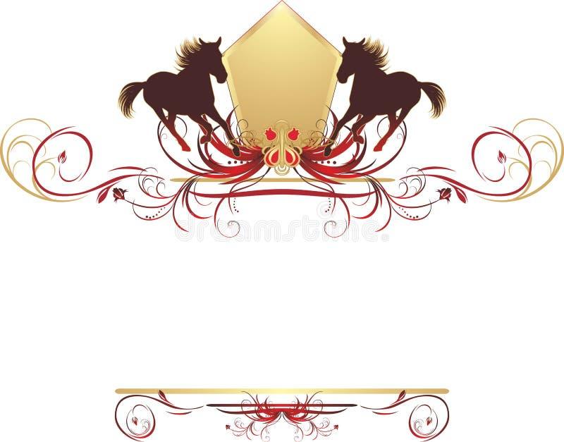 Schattenbilder des Pferds auf der stilvollen Auslegung lizenzfreie abbildung
